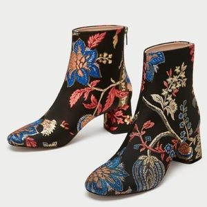 Zara Embroidered Ankle Booties